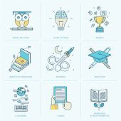 stock photo of online education  - Flat design vector icons for online learning - JPG