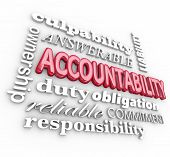 pic of accountability  - Accountability 3d word background with terms such as answerable - JPG