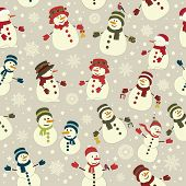 stock photo of snowmen  - Seamless pattern with Christmas snowmans on gray background - JPG