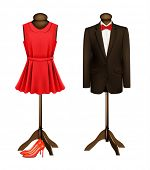 picture of dress mannequin  - A suit and a formal dress on mannequins with red high heels - JPG