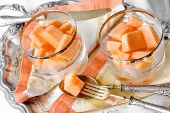picture of melon  - summer dessert with melon and water melon and vintage silverware - JPG
