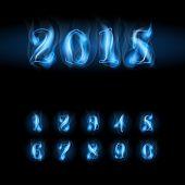 foto of arabic numerals  - set of blue fire arabic numbers - JPG