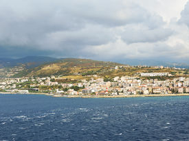 stock photo of messina  - view of town Reggio di Calabria from Strait of Messina Italy in summer day - JPG