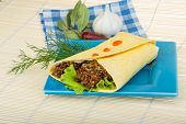 picture of shawarma  - Shawarma with meat salad leaves and spices - JPG