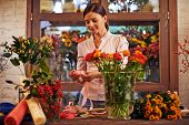 picture of flower shop  - Flower girl working with flowers - JPG