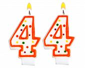 stock photo of four  - Birthday candles number forty four isolated on white background - JPG