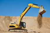 picture of sand gravel  - excavator machine at excavation earthmoving work in sand quarry - JPG
