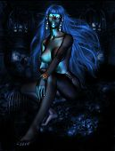 stock photo of drow  - A 3D image of a drow fantasy character in the depths of a dungeon - JPG