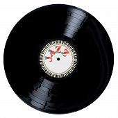 image of lp  - A typical LP vinyl record with the legend jazz and a circle of piano keys all over a white background - JPG