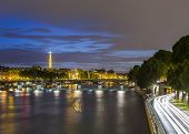 stock photo of bonaparte  - Long exposure of Paris from Pont Neuf with Eiffel Tower in background - JPG