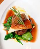 pic of chateaubriand  - Tenderloin steak with beef terrine and spinach in plate - JPG