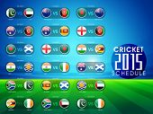 stock photo of cricket  - Cricket match 2015 schedule with countries flags on blue and green background - JPG
