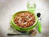 pic of chickpea  - chickpeas soup with bacon and tomato sauce - JPG