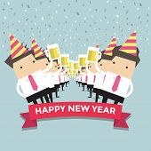 stock photo of office party  - Businessman happy newyear party vector illustration eps10 - JPG