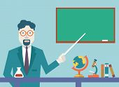 stock photo of cognitive  - Flat vector teacher and study schools objects for study - JPG