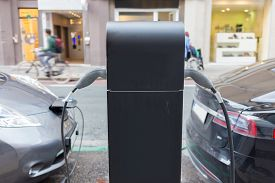 foto of electric station  - Power supply for electric car charging - JPG