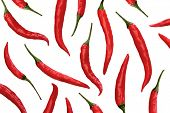 stock photo of chili peppers  - Red chili peppers on white background - JPG