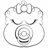 picture of pacifier  - Vector face of a sleeping baby girl with pacifier - JPG
