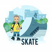 image of roller-skating  - The guy on roller skates in the park - JPG