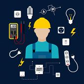 foto of electric socket  - Professional electrician concept with electric man in yellow hard hat with electrical household supplies - JPG