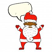 picture of ugly  - cartoon ugly santa claus with speech bubble - JPG