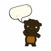 stock photo of bear-cub  - cartoon waving black bear cub with speech bubble - JPG