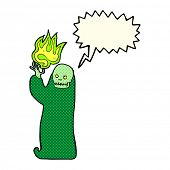 picture of ghoul  - cartoon waving halloween ghoul with speech bubble - JPG