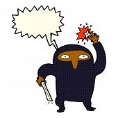 image of ninja  - cartoon ninja with speech bubble - JPG