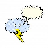 pic of lightning bolts  - cartoon lightning bolt and cloud with speech bubble - JPG