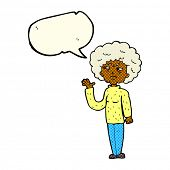 picture of annoying  - cartoon annoyed old woman waving with speech bubble - JPG