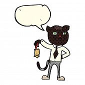 stock photo of dead mouse  - cartoon business cat with dead mouse with speech bubble - JPG