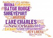 image of state shapes  - Word Cloud in the shape of Louisiana showing some of the cities in the state - JPG