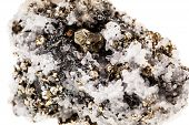 stock photo of iron pyrite  - Mineral pyrite in quartz known as Fool - JPG