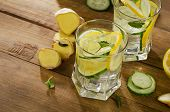 stock photo of mints  - Fresh water with lemon mint ginger and cucumber on a wooden background - JPG