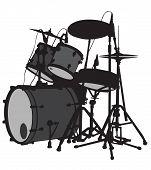 stock photo of drum-set  - Drum set is on the scene - JPG