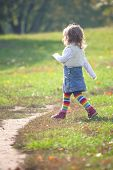 pic of girl walking away  - Little girl in the park striding through green grass very purposefully. She is full of confidence and seems sure in her goal like all two years old. ** Note: Soft Focus at 100%, best at smaller sizes - JPG