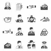 image of corruption  - Corruption black icons set with bribe prison budget isolated vector illustration - JPG