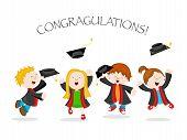 foto of graduation  - illustration of cute little kids celebrating graduation - JPG