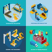 pic of manufacturing  - Robot machinery design concept set with transporting sorting processing and manufacture isometric icons isolated vector illustration - JPG