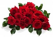 picture of bouquet  - Bouquet of red roses with green leaves isolated on white - JPG