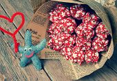 pic of i love you mom  - Happy mothers day with i love you mom message idea from colorful fiber starfish on wooden background beautiful fiber flower abstract wooden texture mother - JPG