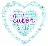 pic of labor  - Labor and birth heart shaped word cloud on a white background - JPG