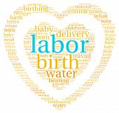image of birth  - Labor and birth heart shaped word cloud on a white background - JPG