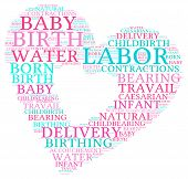 picture of birth  - Labor and birth heart shaped word cloud on a white background - JPG