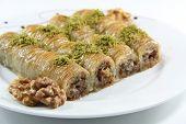 foto of baklava  - Turkish dessert baklava isolated on white background - JPG