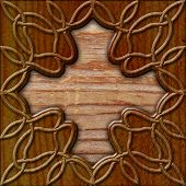 picture of celtic  - brown old wood background with celtic pattern - JPG