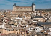 stock photo of alcatraz  - Overview of medieval city of Toledo with Alcatraz as a focal point - JPG