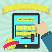 """pic of watch  - """"Watch online"""" button in a tablet for watch movie streaming. Colorful artwork. Blank ribbon and stamp for insert text. - JPG"""