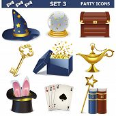 picture of aladdin  - Party Icons Set 3 including different magical and focus accessories isolated on white background - JPG