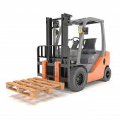 image of pallet  - 3d rendering of a forklift with shipping pallet over white background - JPG